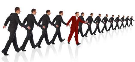 going out: bussinessman in abito rosso uscire il collage di formazione