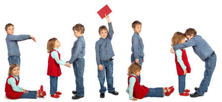 dactylology: boy with girl represent word CHILD, people repeats