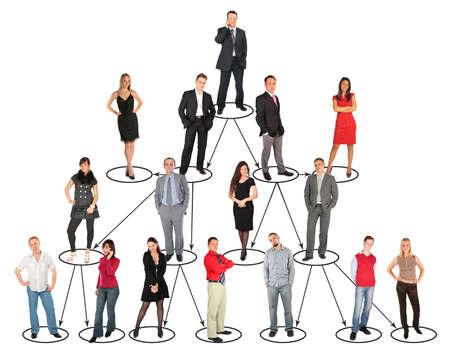 diferentes personas están en posiciones diversas y niveles de collage Foto de archivo