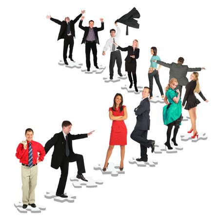 jerarquia: diferentes personas est�n en posiciones diversas en rompecabezas collage, la gente repite Foto de archivo