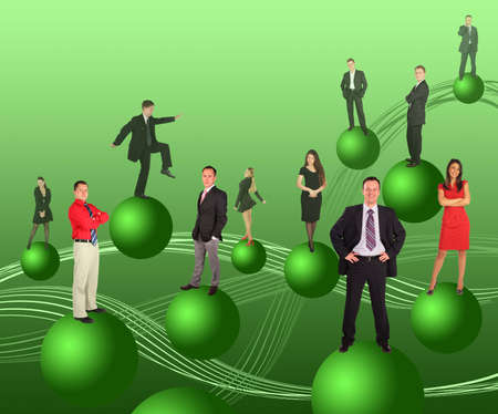 business people on green balls collage, people repeats photo