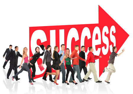 business themed collage, people run to success following the arrow sign photo