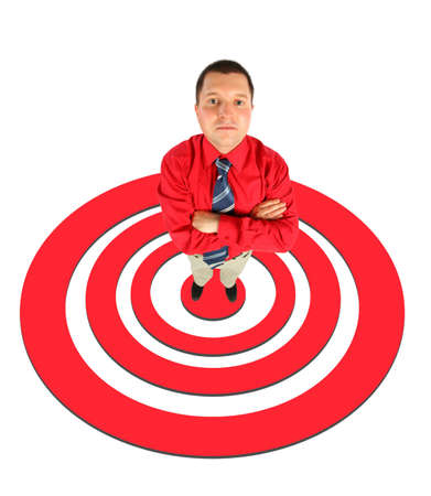 moneymaker: businessman in red shirt standing on red shooting mark collage Stock Photo