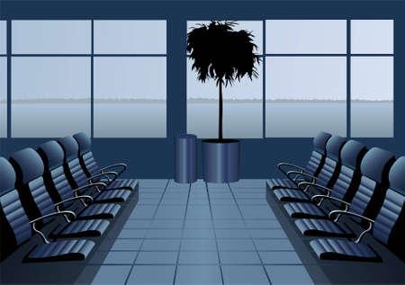 board room: Sala de espera del aeropuerto. azul. vector Vectores