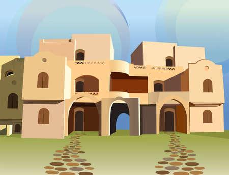marokko: Arabische huis vector Stock Illustratie