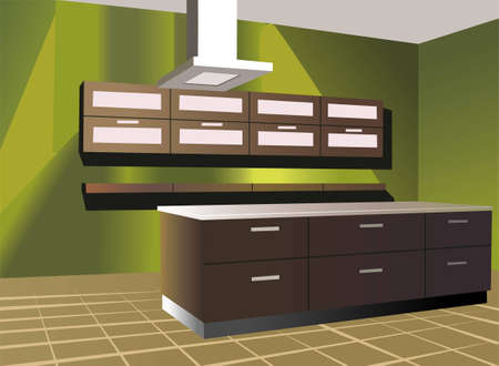 interior lighting: Kitchen with green wall vector