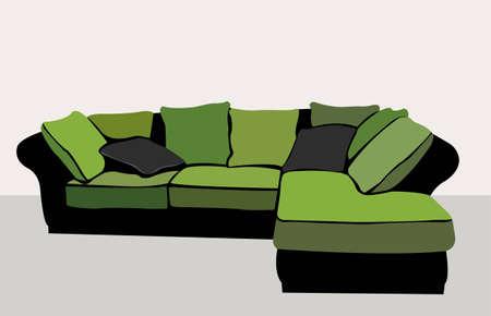 drawing room: green sofa vector Illustration