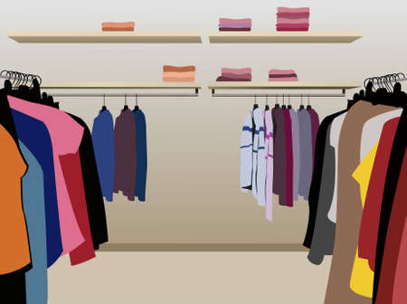 clothes in shop vector Illustration