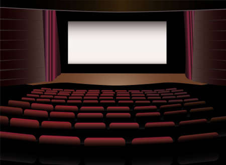 theater seats: cinema interior vector Illustration