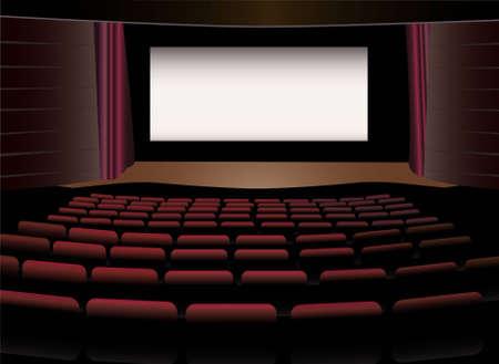 movie screen: cinema interior vector Illustration