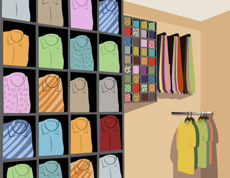 clothing rack: Shirts in store vector