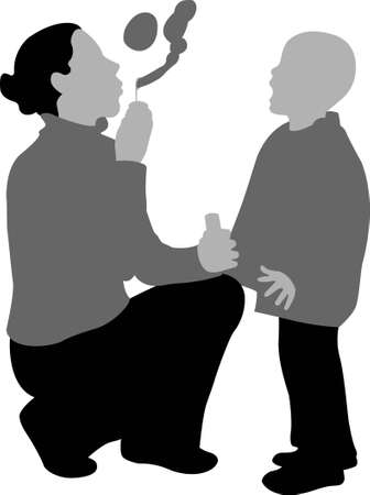 soapy: madre de vector con hijo con burbuja jabonosa
