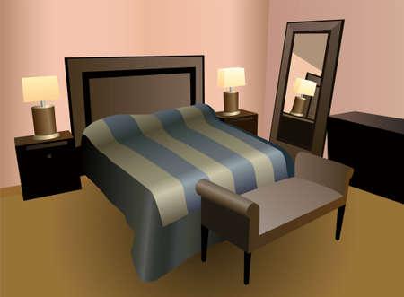 romance bed: bedroom vector Illustration