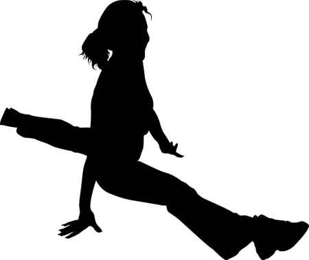 treadmill: vector Girl. splits. health club   Illustration