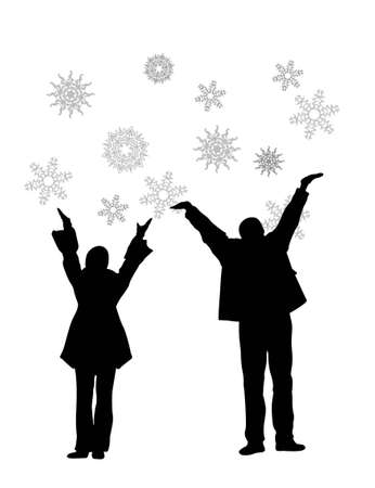 vector couple with hands up to snowflakes. winter Stock Vector - 6629425
