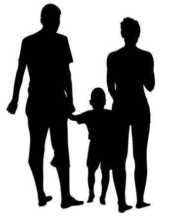 vector back family of three. Stock Vector - 6627389