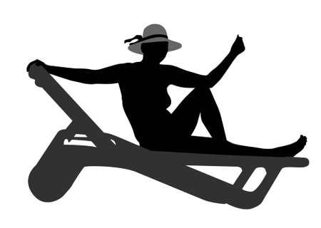 ベクターの女性のビーチのベンチ