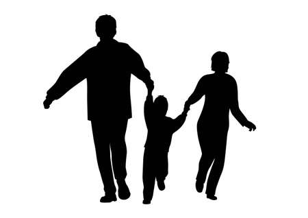 vector autumn running family with boy silhouette Vector