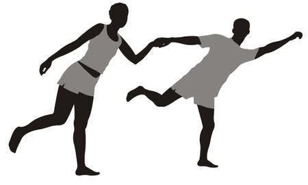 running couple in summer clothes Vector
