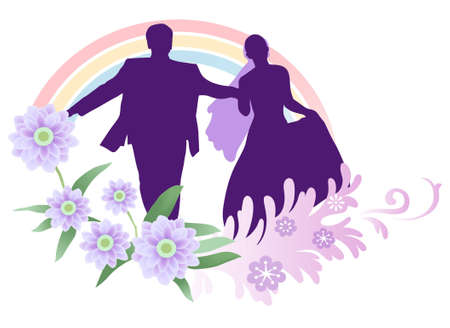 bridegroom: vector bride and groom running