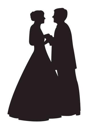 silhouette of bride: vector wedding couple face to face