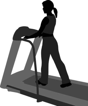 treadmill: vector girl on step mashine in health club