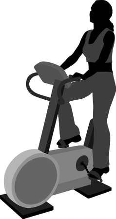 treadmill: vector girl on bicicle in Health Club