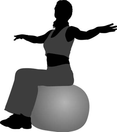 health club: vector girl in health club on rubber ball 2