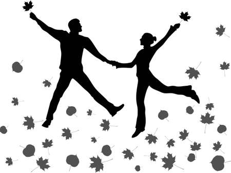 full time: jump couple. autumn leaves.