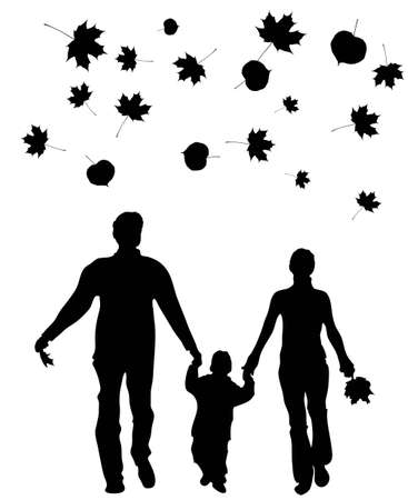 vector walking family autumn leaves Stock Vector - 6629682