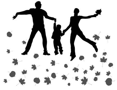 black family: vector fly happy family with autumn leaves