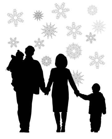 vector winter family of four  Vector