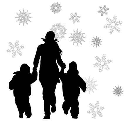 two parent family: vector mother with children runnig