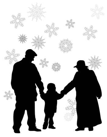 grandmother and grandson: vector grandparents with grandson Illustration