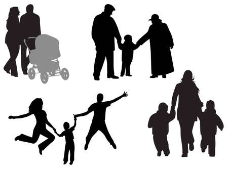 old couple walking: family vector Illustration