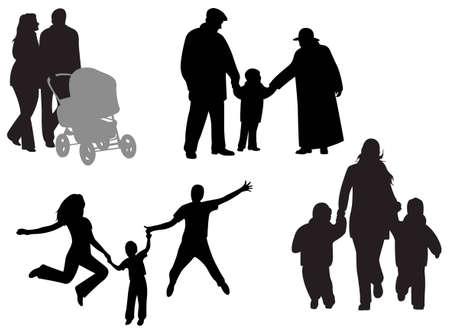 stroll: family vector Illustration