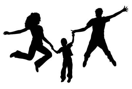 vector jumping family. spring. Stock Vector - 6629583