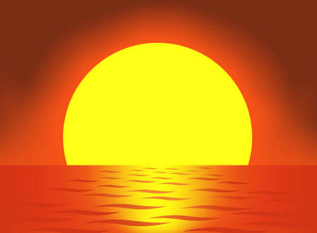 sea horizon: very big sun vector Illustration