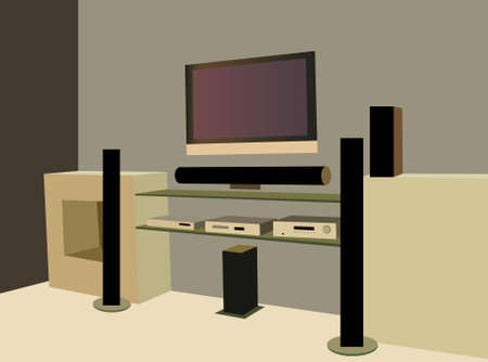 entertainment center: home theater vector Illustration