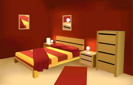 rest in peace: red modern bedroom vector