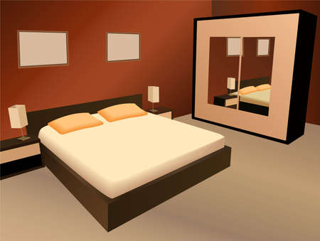 guests: brown bedroom vector Illustration