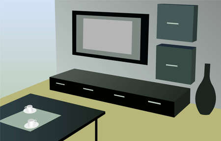 modern living room: modern room with tv vector