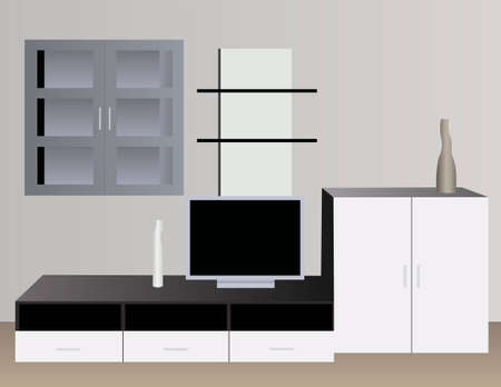 penthouse: white interior with tv vector Illustration