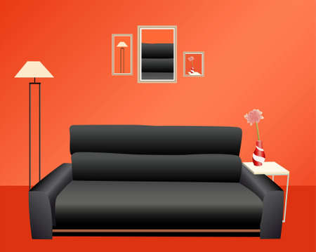 interior design living room: black sofa on red wall vector Illustration