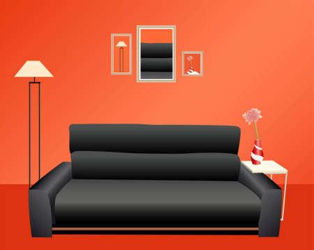 red couch: divano nero sul muro rosso vettoriale  Vettoriali