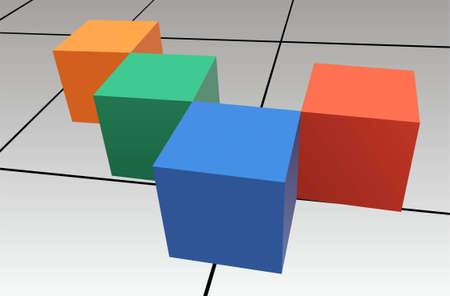 hexahedron: cubes vector Illustration
