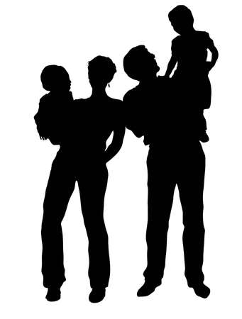 vector family with two children stand Stock Vector - 6629841
