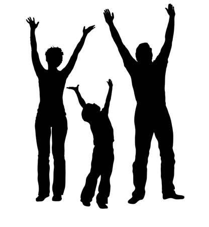 mujer hijos: familia de vector con manos arriba Vectores
