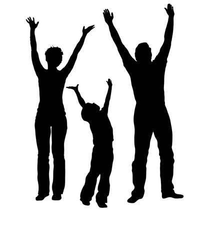 child couple: vector family with hands up