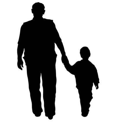 retire: vector grandfather and boy walking